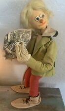 Antique Poseable Strange Unique 20in Doll Felt Clothing w/ Rubber head