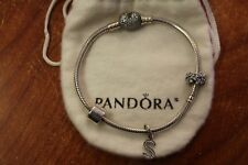 Pandora Pave Heart Bracelet Sterling Silver W/ spacer & charms in rg Box & Pouch