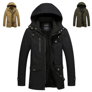 Mens Thick Winter Jacket Wool Lined Warm Hooded Coat Outdoor Military UK Size