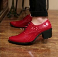 Fashionable Men's Patent Leather Pointed Toe Lace Up High Heel Oxford Shoes Size