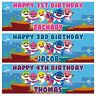 2 x Personalized Baby Shark Birthday Banner Kids Nuersry Children Party Poster