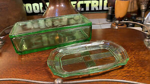 Vintage 1930s Australian Art Deco Green Depression Glass Butter Box And Dish