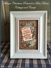 Old Vtg Christmas Antique Embossed Postcard Prim Robins Egg Blue Wood Frame