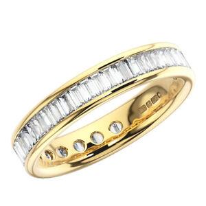 1.25 Carat Channel Set Baguette Cut Diamond Full Eternity Ring 18K Yellow Gold