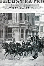 Dan Smith FOUR HORSE COACH Vanderbilt Mansion 5th Avenue NYC 1891 Matted Print
