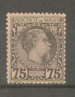 "MONACO STAMP TIMBRE N°8 "" PRINCE CHARLES III 75c NOIR SUR ROSE 1885 "" NEUFxx TTB"