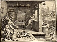 Antique gravure print Matthäus Merian 1657 murder stampa antica omicidio