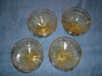 1930S 4 FEDERAL GLASS FOOTED SORBET ICE CREAM DISHES
