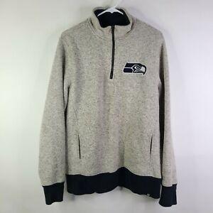 Seattle Seahawks '47 Marled 1/4 Zip Pullover Long Sleeve Fleece Sweater Size M
