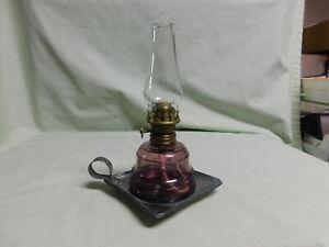 Antique Miniature Metal finger Lamp w/ Purple Glass Font