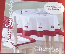 Cherries 54 x72  Tablecloth Embroidered design