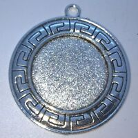 LARGE ROUND ANTIQUE SILVER COLOUR CABOCHON PENDANT SETTINGS TRAY 25mm  C35