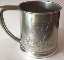 New listing Aesthetic Engraved Lily Pads sterling silver Mug by Knowles 1899