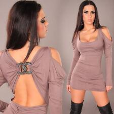 *♥*Sexy Mini Cocktail-Kleid Party Dress Go Go Disko Clubwear 34/36 Cappuccino