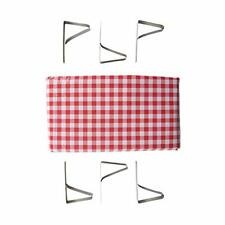"""Stansport Picnic Table Cloth with Clamps Combo Pack 54""""x72"""" Red & White Checker"""