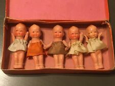 "Antique 3"" Bisque Jointed Dionne Quintuplet Dolls Made In Japan SECO NFRB"