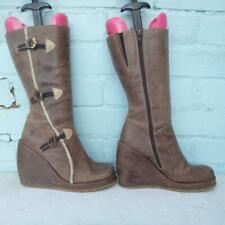 DESTROY Leather Boots Uk 4 Eur 37 Womens Wedge Platform Distressed Brown Boots