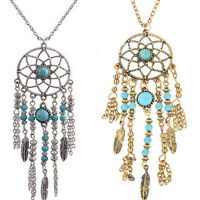 Women Chic Retro Turquoise Feather Tassel Pendant Long Chain Necklace Jewelry