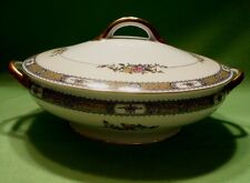 Antique NORITAKE MORIYAMA porcelain covered serving dish. Gorgeous vivid flowers