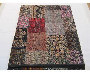 Hand Work Vintage Gudri Printed Silk Bedcover Patchwork Kantha Black Quilt Throw