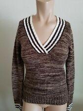 Grane Women's Deep V-neck Pullover Knit Sweater Brown Cream Super Soft Medium
