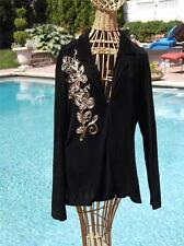 Chico's Travelers Stretchy Black Embroidered Embellished Sweater  Size 3 16/18