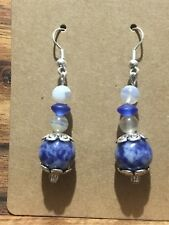 Handmade Natural Blue Spot Stone & Smoky Quartz Drop Earrings Unique - Aussie