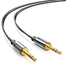 deleyCON 0,5m Klinken Kabel Flachband Kabel 3,5mm Klinken Stecker Schwarz