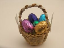 Dolls house food: Basket of chocolate Easter eggs   -By Fran