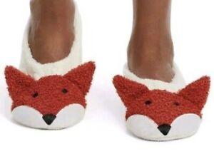 $15  HUE Fox Cozy Critter Slipper Socks Women's Size M 7-8 B1