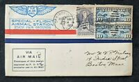 1926 Springfield Illinois Special Flight State Fair Grounds Airmail Cover to MA