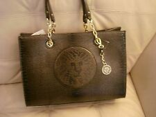 NWT ANNE KLEIN DARK GRAY  LARGE LEO LEGACY IV LEATHER PURSE GOLD HARDWARE
