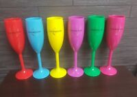 MOET CHANDON 6 x BRIGHTLY COLOURED ACRYLIC CHAMPAGNE FLUTES