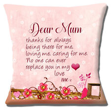 "'Dear Mum' 16""x16"" 40cm Cushion Cover Thank You Mother's Day Note Unique Gift"