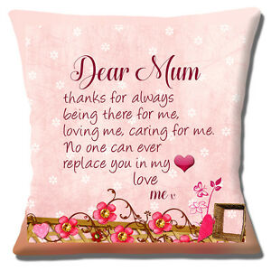 """'Dear Mum' 16""""x16"""" 40cm Cushion Cover Thank You Mother's Day Note Unique Gift"""