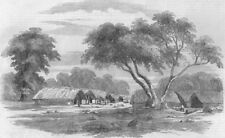 INDIA. Santal Rebellion. Hill village in the Santal country, antique print, 1856