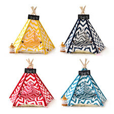Portable Washable Pet House Bed Cat Teepee Tent Puppy Cushion Pad Play Houses