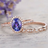 Gorgeous Rose Gold Filled Rings for Women Jewelry Amethsyt Ring Size 6-10