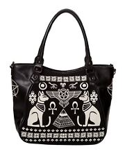 Banned Anubis Tote Bag Egyptology Sacred Cat Ankh Print