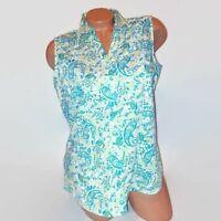 Basic Editions Womens Tank Top Green White Sleeveless Button Front Paisley