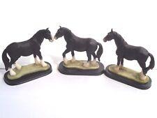 3 Stk. Pferdefigur, Hengst, schwarz, Polystone, 10 cm hoch, 13 cm breit