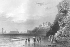 Merseyside WIRRAL NEW BRIGHTON LIGHTHOUSE SEA FRONT ~ 1840 Art Print Engraving