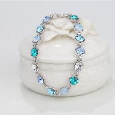 Xmas Gift Round Aquamarine Crystal White Gold Plated Adjustable Tennis Bracelet