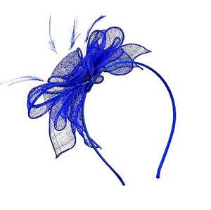 Large Royal Blue Headband Aliceband Hat Fascinator Wedding Ladies Race Ascot 28