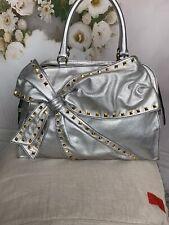 Valentino Garavani Silver Metallic Studded Bow Bag Authentic NWTS MSRP $2295
