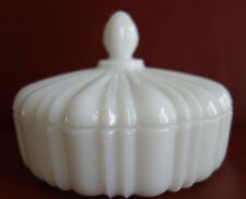 """Vintage 7"""" Retro Style Ribbed Pattern Milk Glass Round Covered Dish"""