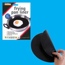10x 26cm Reusable Non-Stick Black Frying Pan Liner for Healthy Cooking