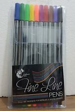Fineliner / fine liner Colouring Pens Wallet Pack Set 10 Colours 0.5mm Tip