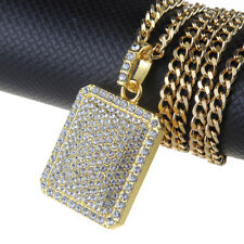 """Hip Hop Big Crystal Gold Plated Square Pendant 27"""" Long Chain Necklace Gifts"""