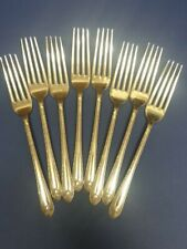 8 VINTAGE SILVER PLATE DINNER FORKS W.M. ROGERS & SON EXQUISITE PATTERN VG USED